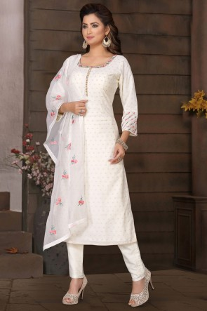 Brocade Fabric White Mirror Work Casual Salwar Suit With Net Dupatta