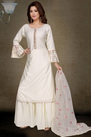 Embroidery Work Brocade Fabric White Casual Plazzo Suit With Net Dupatta