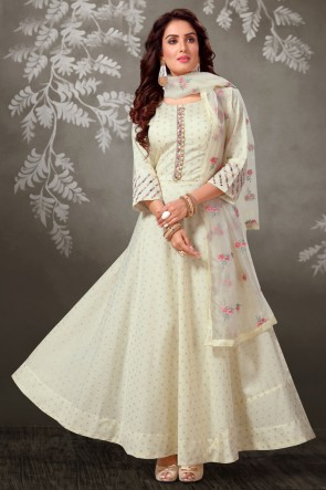 Off White Brocade Fabric Embroidered Casual Anarkali Suit And Art Silk Bottom