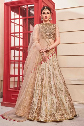 Marvelous Silk Peach Embroidered And Hand Work Lehenga Choli And Dupatta
