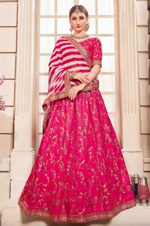 Pink Silk Embroidered And Hand Work Lehenga Choli And Dupatta