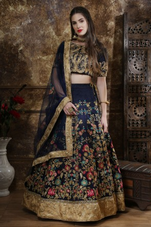 Marvelous Silk Navy Blue Embroidered And Zari Work Lehenga Choli With Net Dupatta