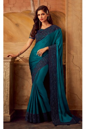 Teal Border Work Silk Fabric Designer Lovely Saree And Blouse