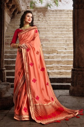 Delightful Silk Fabric Weaving Work And Embroidered Designer Peach Saree And Blouse