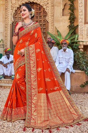 Heavy Designer Embroidered And Weaving Work Orange Weaving Silk Fabric Saree And Blouse