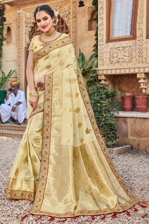 Gorgeous Cream Stone Work And Weaving Work Weaving Silk Fabric Saree And Blouse