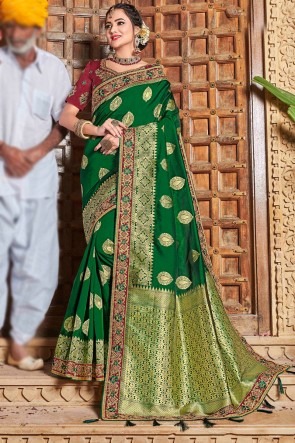Weaving Work And Embroidered Green Weaving Silk Fabric Beautiful Saree And Blouse