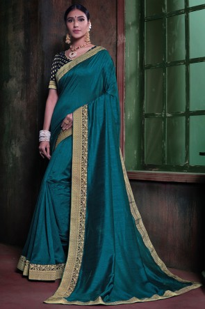 Lace Work And Border Work Designer Teal Silk Fabric Saree And Blouse