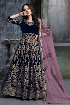 Charming Navy Blue Embroidered And Stone Work Velvet Anarkali Suit With Net Dupatta