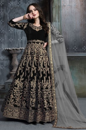 Embroidered And Stone Work Designer Black Velvet Anarkali Suit With Net Dupatta
