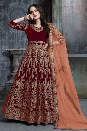 Designer Maroon Embroidered And Stone Work Velvet Anarkali Suit With Net Dupatta