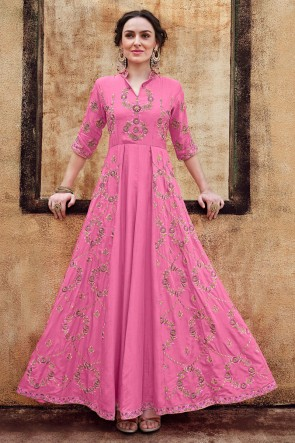Embroidered Designer Pink Rayon Fabric Long Length Gown