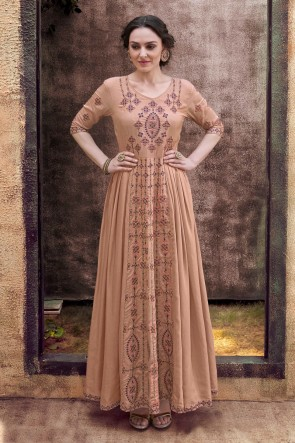 Rayon Fabric Khaki Embroidered Stylish Gown