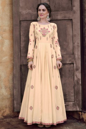 Embroidered Cream Rayon Fabric Superb Gown