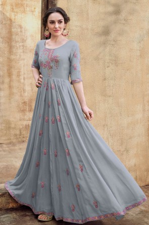 Fascinating Grey Embroidered Designer Rayon Fabric Gown