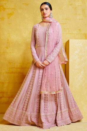 Georgette Fabric Embroidery Work Light Pink Abaya Style Anarkali Suit And Santoon Bottom