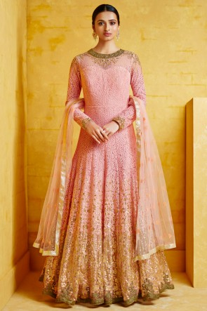 Party Wear Embroidered Pink Georgette Fabric Abaya Style Anarkali Suit With Net Dupatta