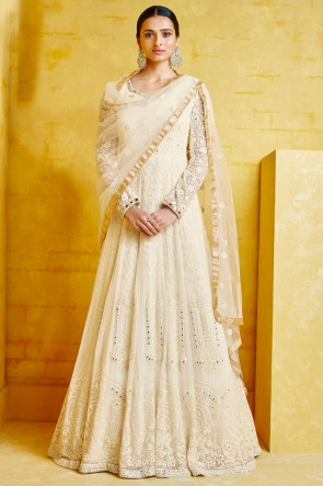 Abaya Style Georgette Off White Embroidery Work Anarkali Suit With Net Dupatta