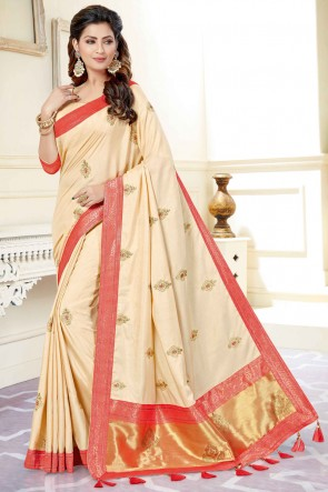 Lovely Cream Weaving Silk Fabric Embroidered And Stone Work Saree And Blouse
