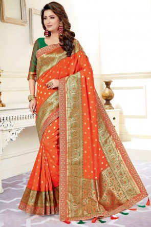 Orange Weaving Silk Fabric Jacquard And Weaving Work Saree And Blouse