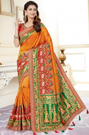 Party Wear Weaving Silk Fabric Orange Jacquard And Weaving Work Saree And Blouse