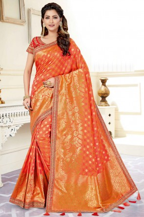Admirable Orange Weaving And Jacquard Work Weaving Silk Fabric Saree And Blouse