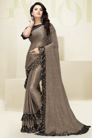 Heavy Flare Designer Beige Imported Fabric Gorgeous Saree And Blouse