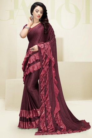 Designer Flare Work Imported Fabric Maroon Saree And Blouse