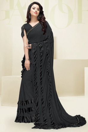 Imported Fabric Black Flare Work Designer Solid Saree And Blouse