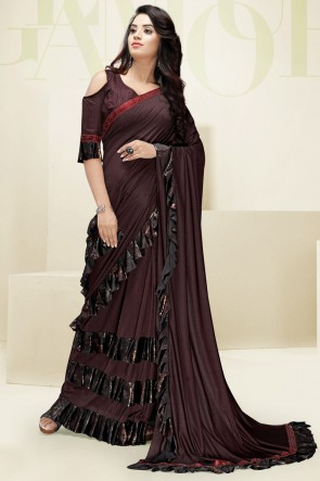 Fascinating Coffee Flare Work Designer Imported Fabric Saree And Blouse