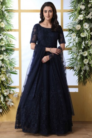 Stone Work And Embroidered Navy Blue Net Fabric Abaya Style Anarkali Suit And Santoon Bottom