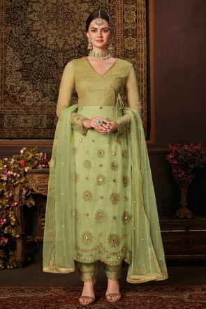 Light Green Net Designer Embroidered And Stone Work Salwar Suit And Dupatta