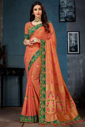 Cotton Linen Fabric Embroidery And Jacquard Work Orange Saree And Blouse