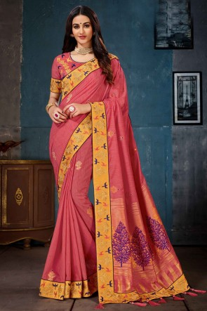 Jacquard Work And Embroidered Rust Cotton Linen Fabric Saree And Blouse