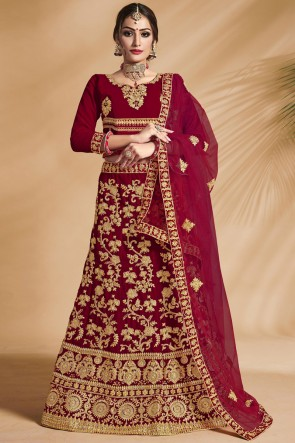 Heavy Designer Velvet Fabric Red Embroidery And Zari Work Bridal Lehenga Choli With Net Dupatta