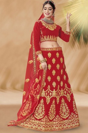 Red Velvet Fabric Designer Zari And Stone Work Bridal Lehenga Choli With Net Dupatta