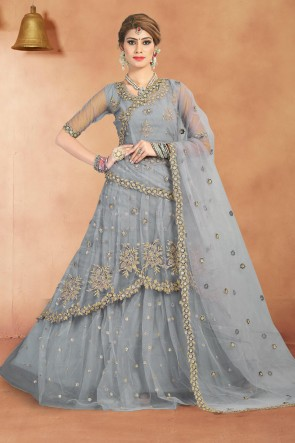 Silver Sequins Work And Zari Work Net Fabric Lehenga Choli With Net Dupatta