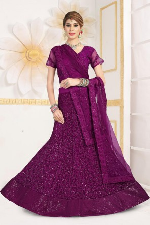 Violet Net Fabric Zari And Sequins Work Designer Lehenga Choli With Net Dupatta
