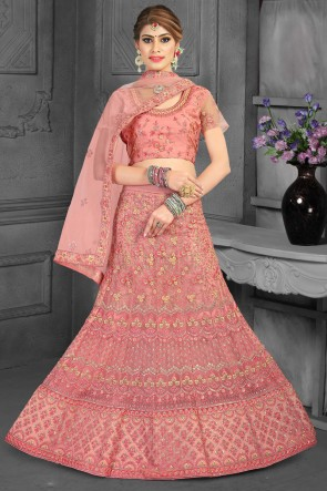 Net Fabric Sequins Work And Zari Work Designer Peach Lehenga Choli With Net Dupatta