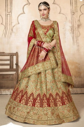 Olive Embroidery And Stone Work Silk Fabric Lehenga Choli With Net Dupatta