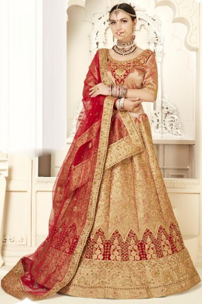 Peach Stone Work And Embroidered Silk Fabric Lehenga Choli With Net Dupatta
