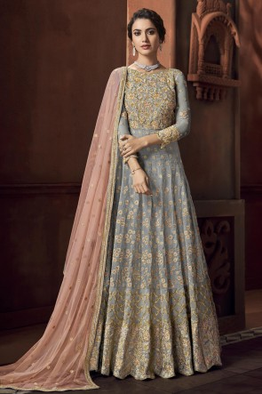 Embroidered And Thread Work Silver Satin Fabric Anarkali Suit With Net Dupatta
