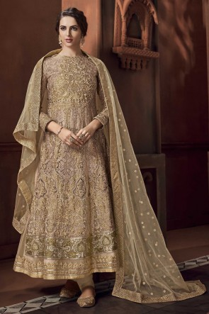 Satin Designer Golden Embroidered And Thread Work Anarkali Suit With Net Dupatta