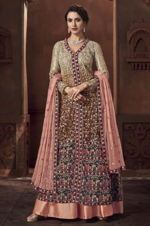 Designer Multi Color Embroidered And Thread Work Net And Satin Abaya Style Anarkali Suit With Net Dupatta