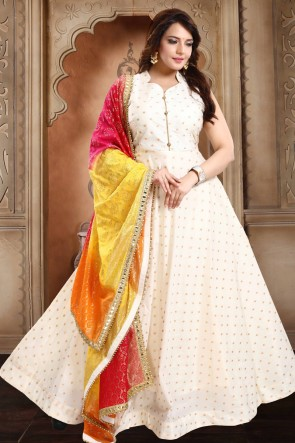 Taffeta Designer Off White Hand Work Anarkali Suit With Brocade Dupatta