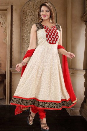 Cotton Designer Cream Hand Work Anarkali Suit With Chiffon Dupatta