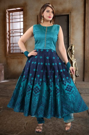 Designer Turquoise And blue Hand Work Banglori Silk Abaya Style Anarkali Suit With Net Dupatta