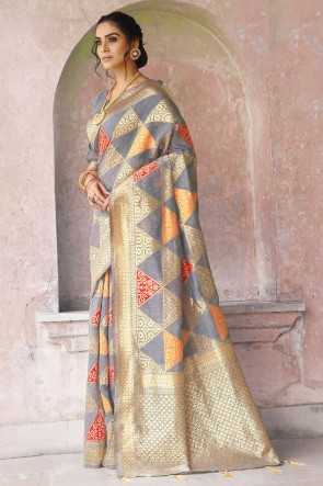 Weaving Work And Jacquard Work Grey Silk Fabric Saree And Blouse