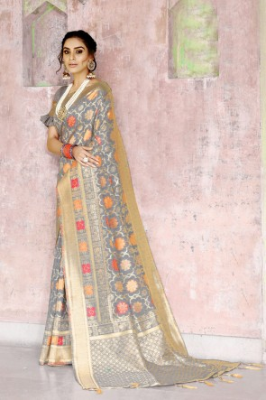 Grey Silk Fabric Weaving Work And Jacquard Work Designer Saree And Blouse