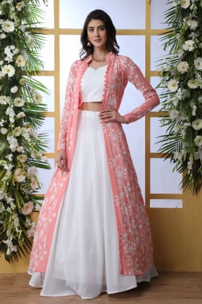 White Georgette Fabric Thread Work And Embroidered Designer Lehenga Choli With Pink Shrug